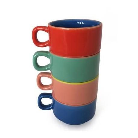 Set van 4 Gekleurde Koffie Mokken