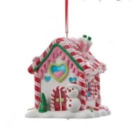Kerstbal Peperkoek huisje met Sneeuwpop en Licht