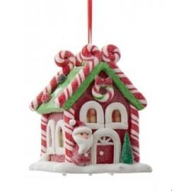 Kerstbal Peperkoek Huisje met Kerstman en Licht