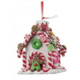 Kerstbal Peperkoek Huisje met Mannetje en Licht