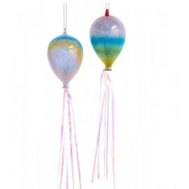 Kerstbal Ballon Pastel met Glitters