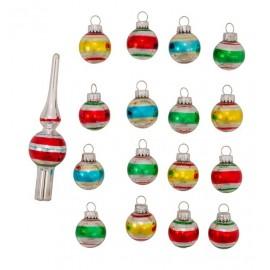 Mini Set van 15 Retro Kerstballen Gestreept Met Piek
