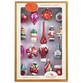 Mini Retro Kerstballen Set 16 Delig