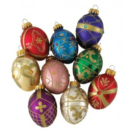 Set van 9 Retro Jewel Egg Kerstballen