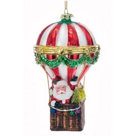Kerstbal Kerstman in Luchtballon