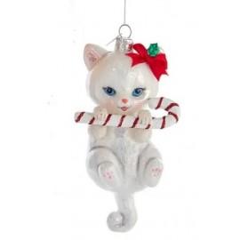 Kerstbal Kat met Zuurstok Wit