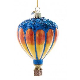 Kerstbal Hete Luchtballon Blauw-oranje