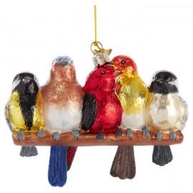 Kerstbal Zangvogels op Tak