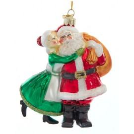 Kerstbal Kussende Kerstman en Kerstvrouw