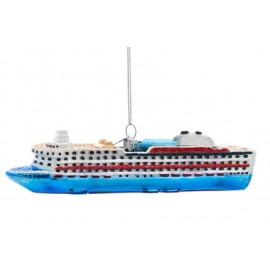 Kerstbal Cruise Boot Blauw