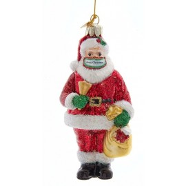 Kerstbal Kerstman met Merry Christmas Mondkapje