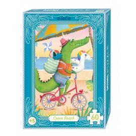 Djeco Mini Puzzel Croco Beach 60st.