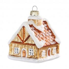 Kerstbal Peperkoekhuisje met Sneeuw