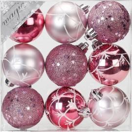 Set van 9 Gedecoreerde Onbreekbare Kerstballen Roze Mix