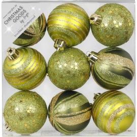 Set van 9 Gedecoreerde Onbreekbare Kerstballen Olijf Groene Mix