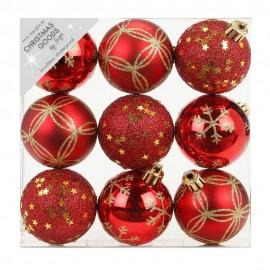 Set van 9 Gedecoreerde Onbreekbare Kerstballen Rood Mix