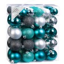 Set van 50 Onbreekbare Kerstbalen Turkoois Grijs Mix