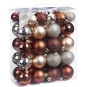 Set van 50 Onbreekbare Kerstbalen Bruin Zilver Mix