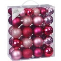 Set van 50 Onbreekbare Kerstbalen Roze Mix