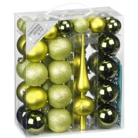 47 Delige Onbreekbare Kerstballen Set met Piek Olijf Groene Mix