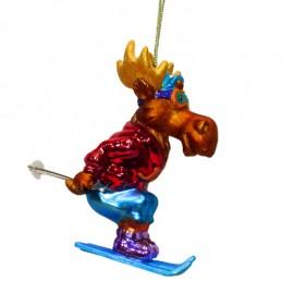 Kerstbal Eland op Ski's