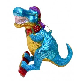 Kerstbal Dino Surfer