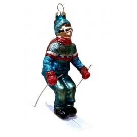 Kerstbal Jongen op Ski's