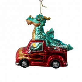 Kerstbal Draak in Pick Up Truck