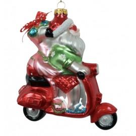 Kerstbal Kerstman met Flamingo Op Scooter