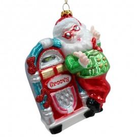 Kerstbal Kerstman met Jukebox