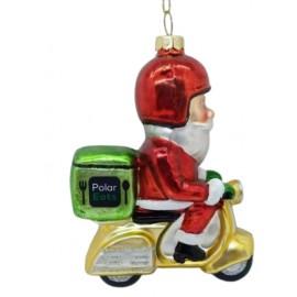 Kerstbal Kerstman Bezorger op Scooter