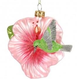 Kerstbal Roze Bloem met Kolibrie