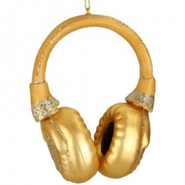 Kerstbal Gouden Koptelefoon