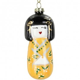 Kerstbal Dame in Kimono Geel