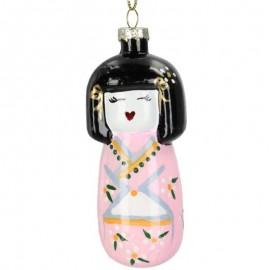 Kerstbal Dame in Kimono Roze