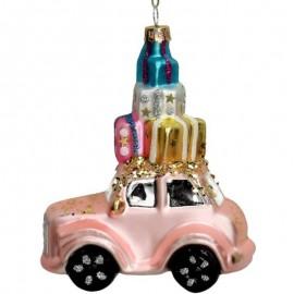 Kerstbal Auto met Kadootjes Roze