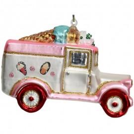 Kerstbal Ijscowagen Roze