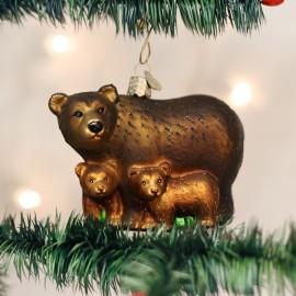 Kerstbal Bruine Beer met Welpen
