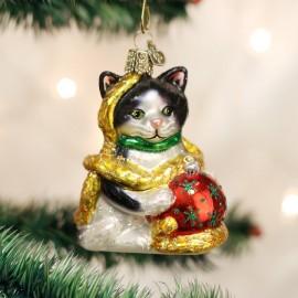 Kerstbal Kat met Kerstbal