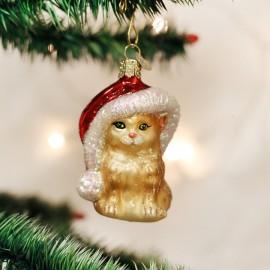 Kerstbal Kat met Kerstmuts