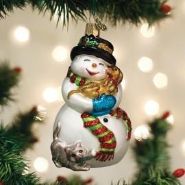 Kerstbal Sneeuwpop met Hond en Kat