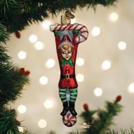 Kerstbal Elf aan Zuurstok