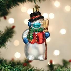 Kerstbal Sneeuwpop met Mondkapje