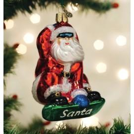 Kerstbal Kerstman op Snowboard