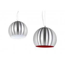 Retro Hanglamp Aluminium Rood/Wit Binnenkant