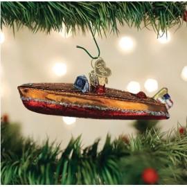 Kerstbal Houten Motorboot