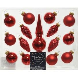 Kerstballen Mini set Rood met Piek