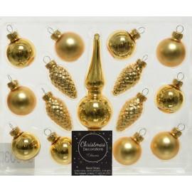 Kerstballen Mini set Goud met Piek