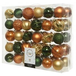 Set van 60 Onbreekbare Kerstballen 7CM Goud Amber Pine