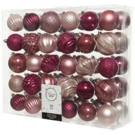 Set van 60 Onbreekbare Kerstballen 7CM Roze Magnolia